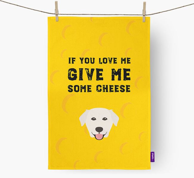 'Give Me Some Cheese' Dish Towel with Golden Labrador Icon