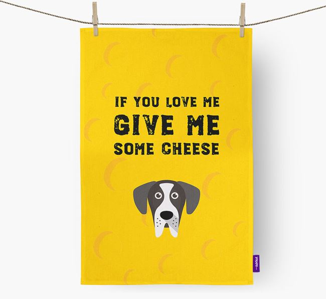 'Give Me Some Cheese' Dish Towel with Great Dane Icon