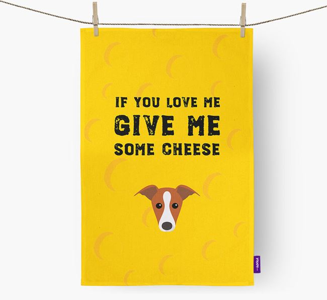 'Give Me Some Cheese' Dish Towel with Greyhound Icon