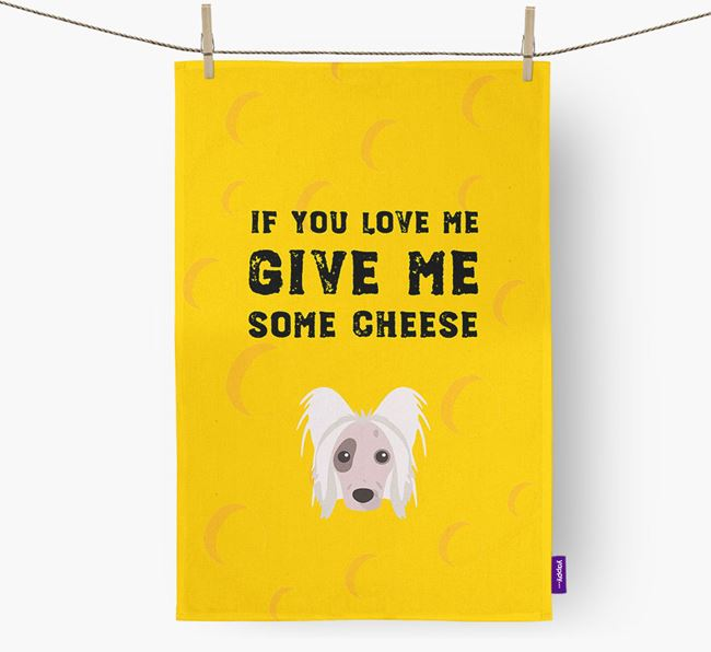 'Give Me Some Cheese' Tea Towel with Hairless Chinese Crested Icon