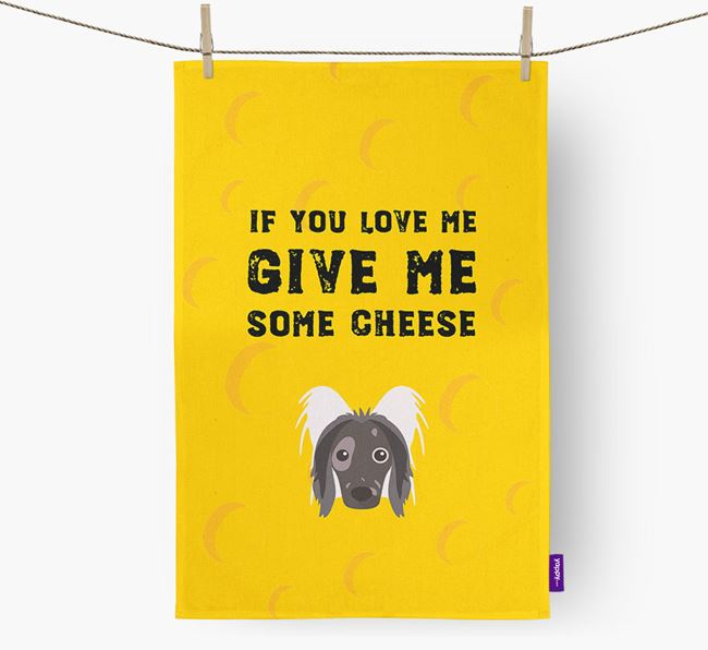 'Give Me Some Cheese' Dish Towel with Hairless Chinese Crested Icon