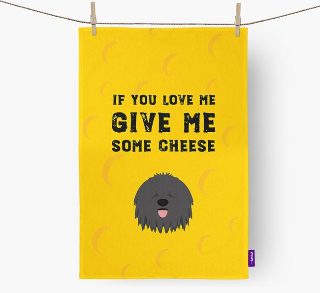 'Give Me Some Cheese' Dish Towel with Hungarian Puli Icon