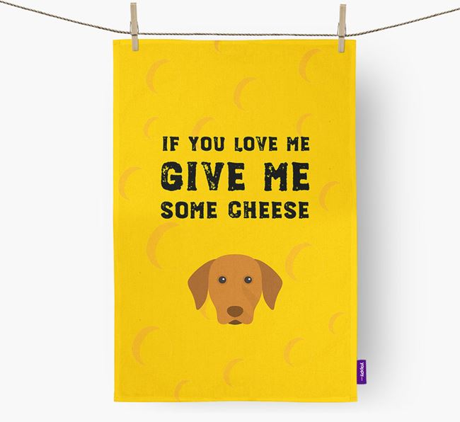 'Give Me Some Cheese' Dish Towel with Hungarian Vizsla Icon