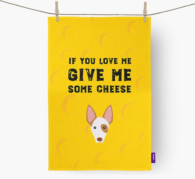 'Give Me Some Cheese' Dish Towel with Ibizan Hound Icon