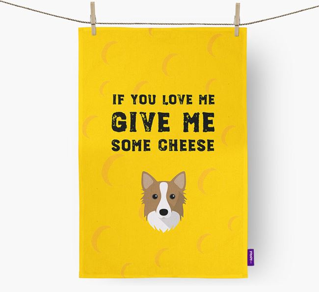 'Give Me Some Cheese' Dish Towel with Icelandic Sheepdog Icon