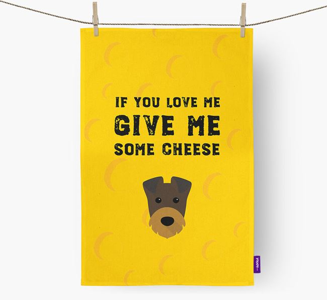 'Give Me Some Cheese' Dish Towel with Irish Terrier Icon