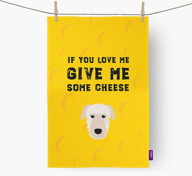 'Give Me Some Cheese' Dish Towel with Irish Wolfhound Icon