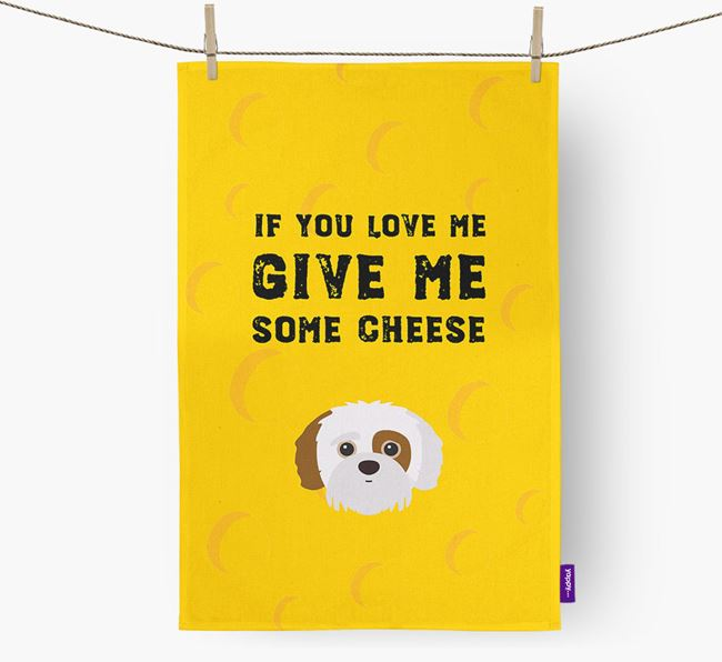 'Give Me Some Cheese' Dish Towel with Jack-A-Poo Icon