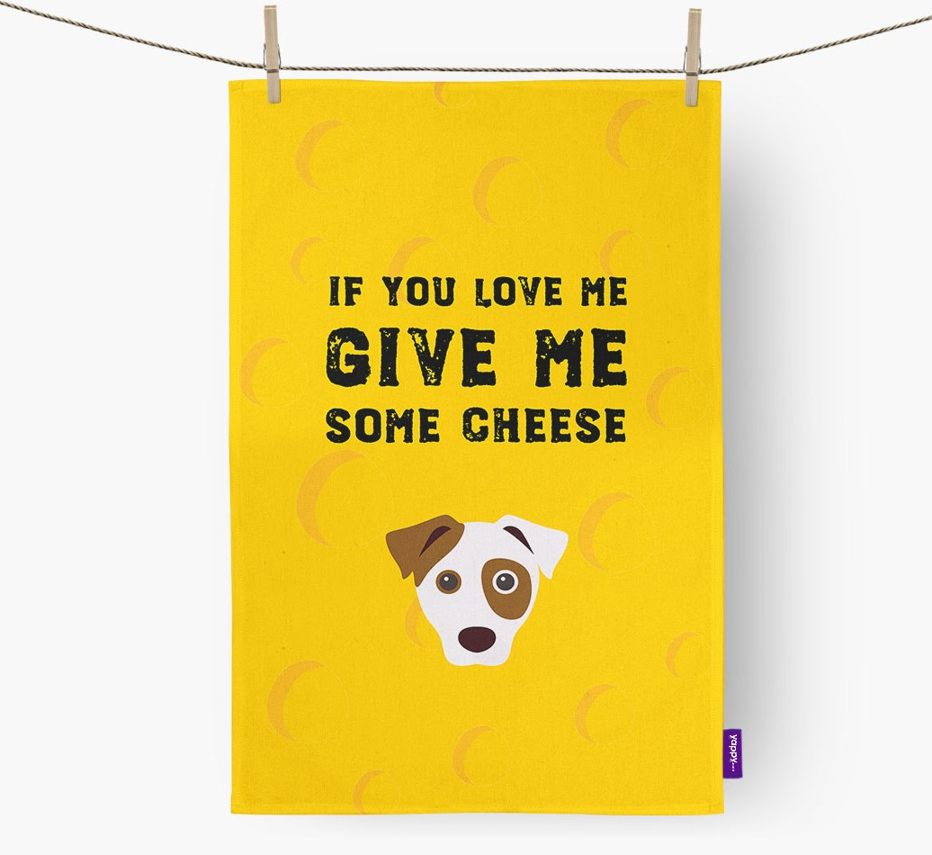 'Give Me Some Cheese' Tea Towel with Dog Icon front view