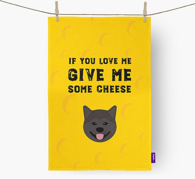 'Give Me Some Cheese' Dish Towel with Japanese Akita Icon