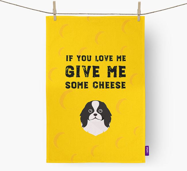 'Give Me Some Cheese' Dish Towel with Japanese Chin Icon