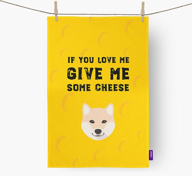 'Give Me Some Cheese' Dish Towel with Japanese Shiba Icon