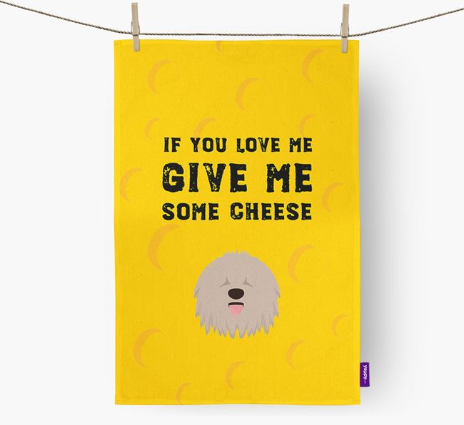 'Give Me Some Cheese' Tea Towel with Komondor Icon