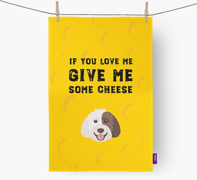 'Give Me Some Cheese' Dish Towel with Labradoodle Icon