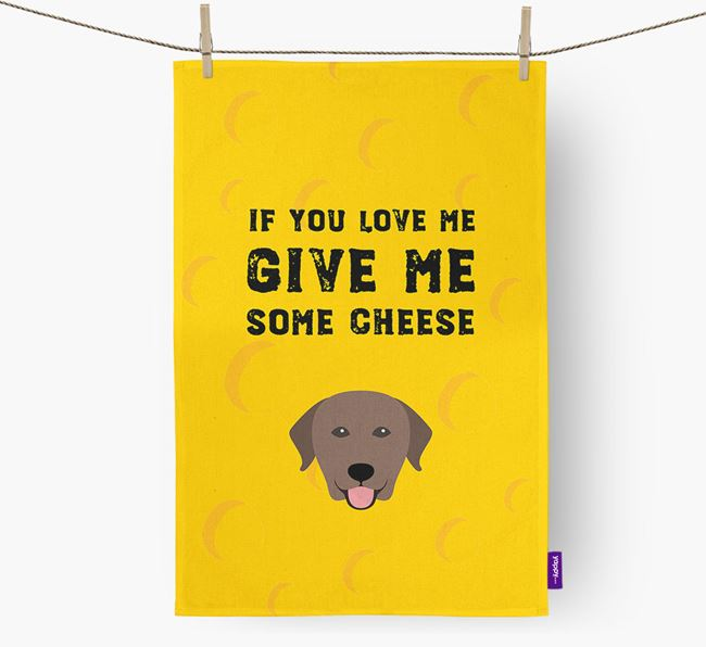 'Give Me Some Cheese' Dish Towel with Labrador Retriever Icon