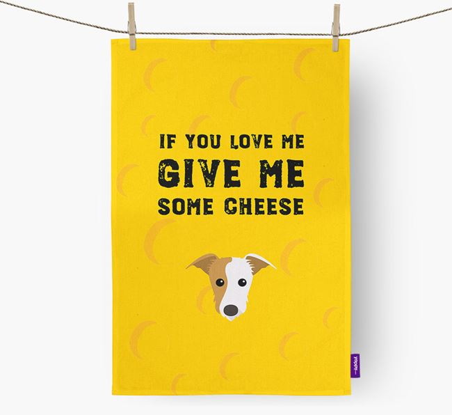 'Give Me Some Cheese' Dish Towel with Lurcher Icon
