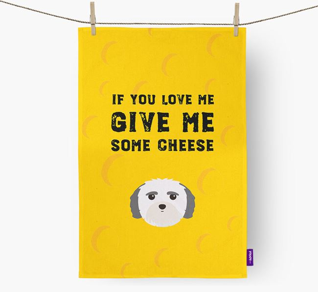 'Give Me Some Cheese' Dish Towel with Mal-Shi Icon