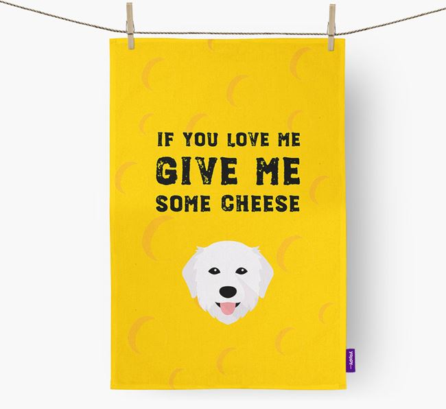 'Give Me Some Cheese' Dish Towel with Maremma Sheepdog Icon