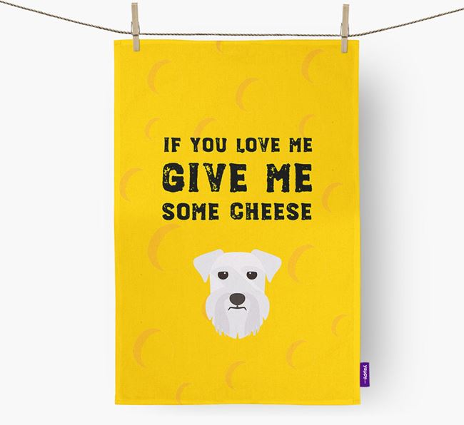 'Give Me Some Cheese' Tea Towel with Miniature Schnauzer Icon