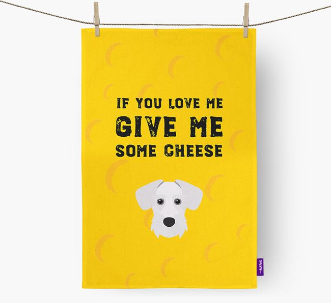 'Give Me Some Cheese' Dish Towel with Miniature Schnoxie Icon