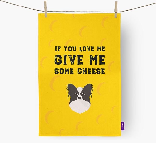 'Give Me Some Cheese' Dish Towel with Papillon Icon