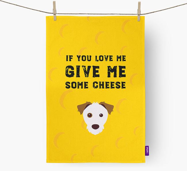 'Give Me Some Cheese' Dish Towel with Parson Russell Terrier Icon