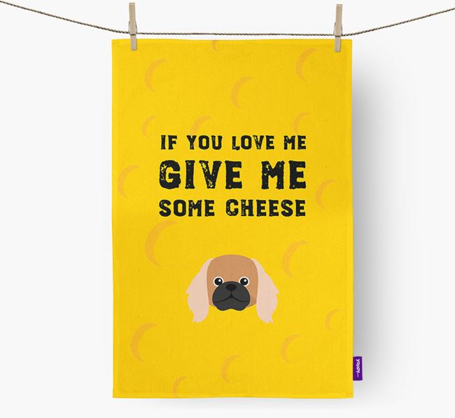 'Give Me Some Cheese' Dish Towel with Pekingese Icon