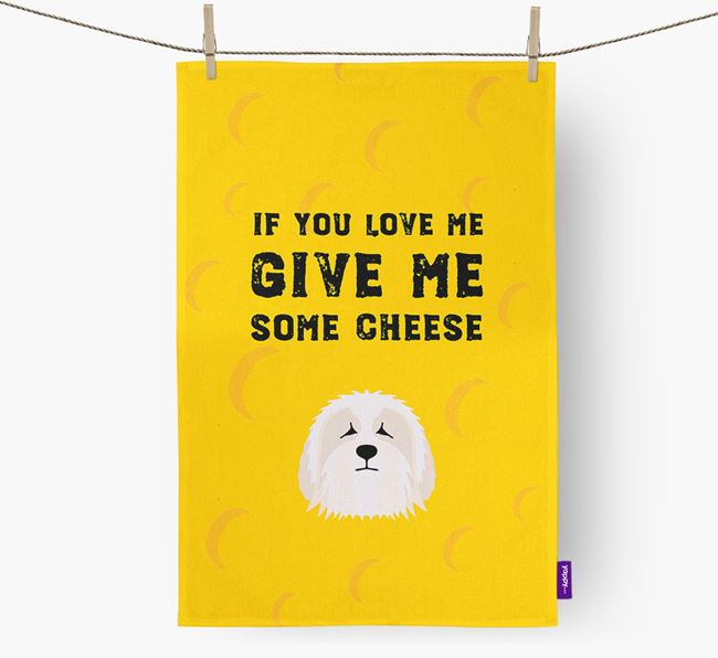 'Give Me Some Cheese' Dish Towel with Polish Lowland Sheepdog Icon
