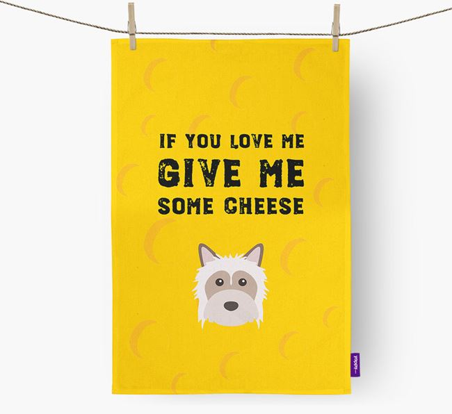 'Give Me Some Cheese' Dish Towel with Powderpuff Chinese Crested Icon