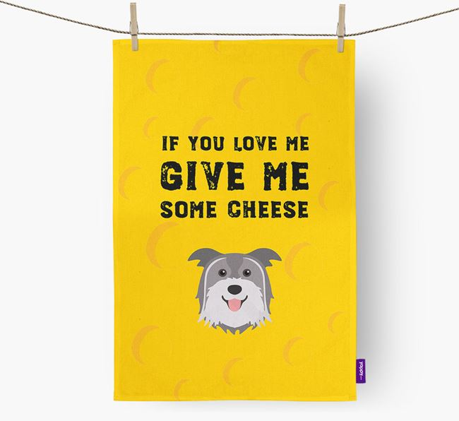 'Give Me Some Cheese' Dish Towel with Pyrenean Shepherd Icon