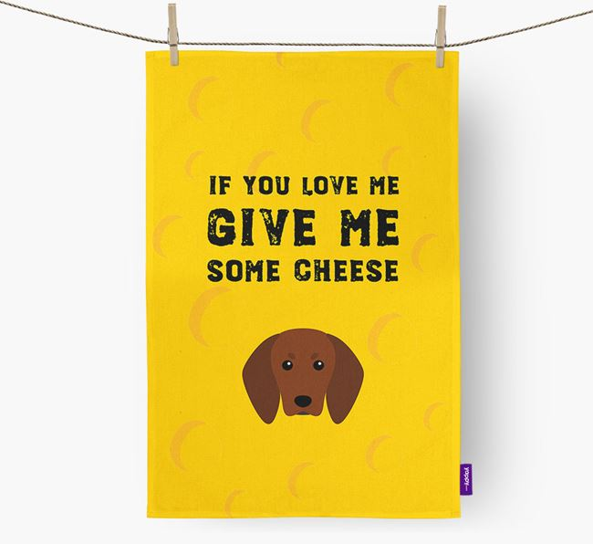 'Give Me Some Cheese' Dish Towel with Redbone Coonhound Icon