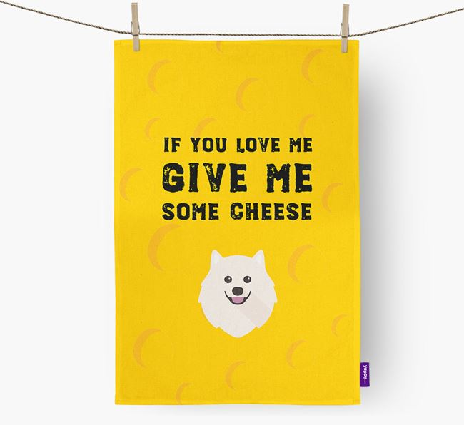 'Give Me Some Cheese' Dish Towel with Samoyed Icon