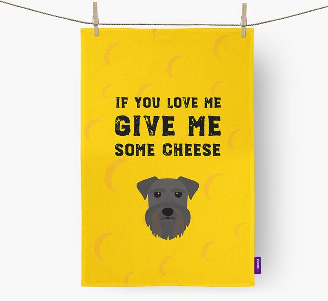 'Give Me Some Cheese' Dish Towel with Schnauzer Icon