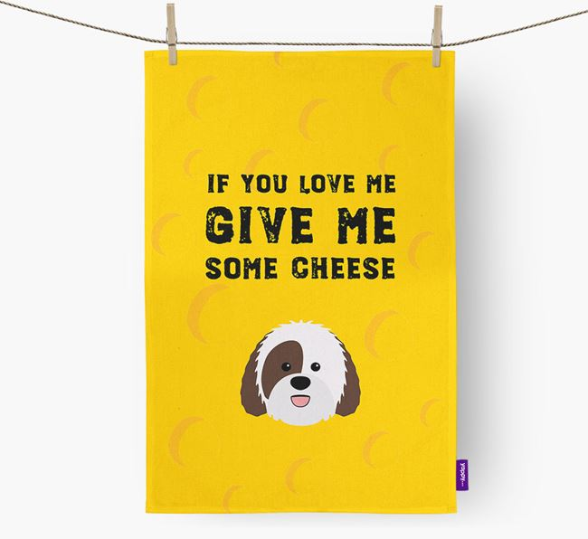 'Give Me Some Cheese' Dish Towel with Sheepadoodle Icon