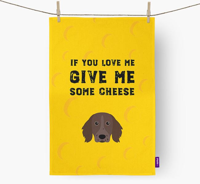 'Give Me Some Cheese' Dish Towel with Small Munsterlander Icon