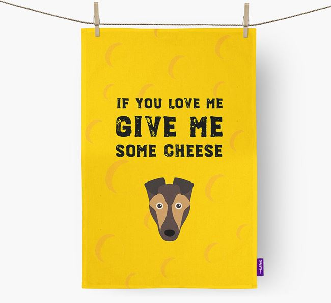 'Give Me Some Cheese' Dish Towel with Smooth Collie Icon