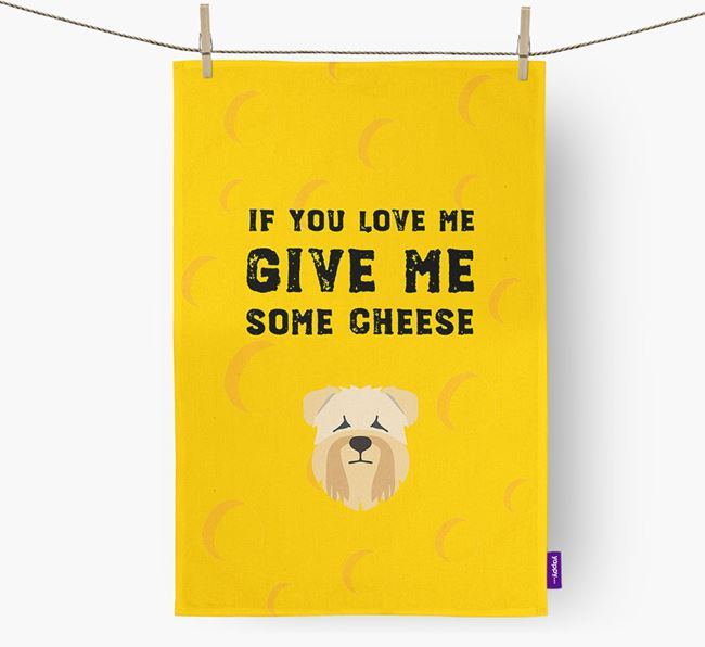 'Give Me Some Cheese' Dish Towel with Soft Coated Wheaten Terrier Icon