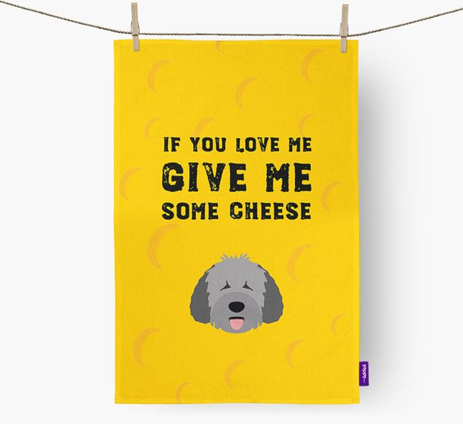'Give Me Some Cheese' Dish Towel with Spanish Water Dog Icon