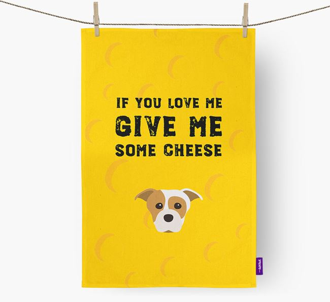 'Give Me Some Cheese' Dish Towel with Staffordshire Bull Terrier Icon