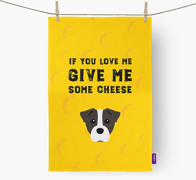 'Give Me Some Cheese' Dish Towel with Staffy Jack Icon