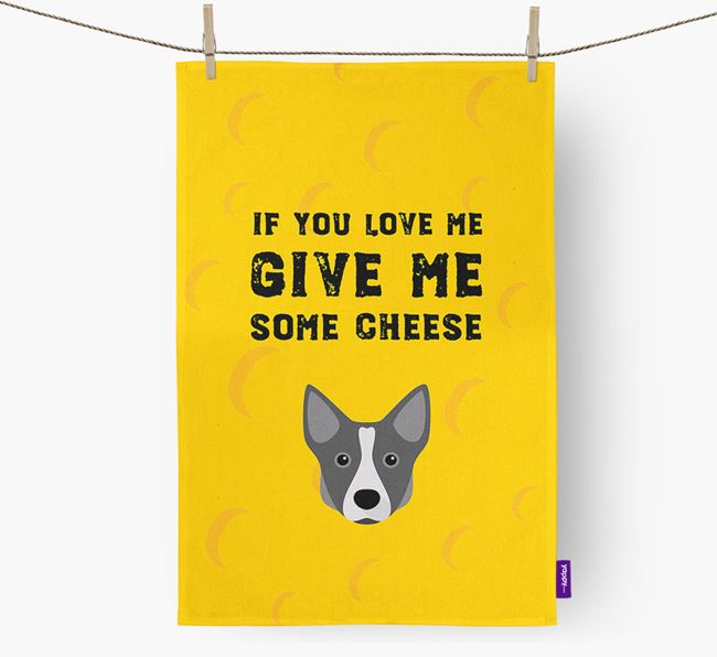 'Give Me Some Cheese' Dish Towel with Swedish Vallhund Icon