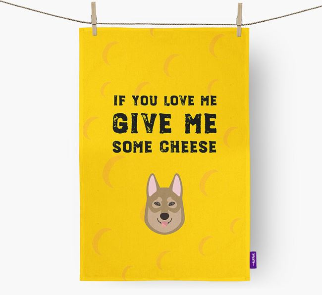 'Give Me Some Cheese' Dish Towel with Tamaskan Icon