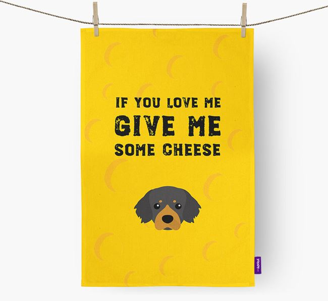 'Give Me Some Cheese' Dish Towel with Tibetan Spaniel Icon