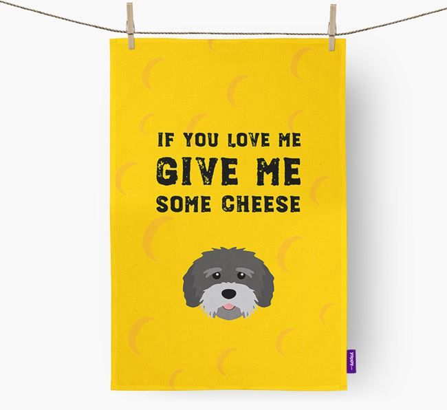 'Give Me Some Cheese' Dish Towel with Tibetan Terrier Icon