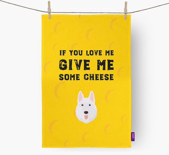 'Give Me Some Cheese' Dish Towel with White Swiss Shepherd Dog Icon