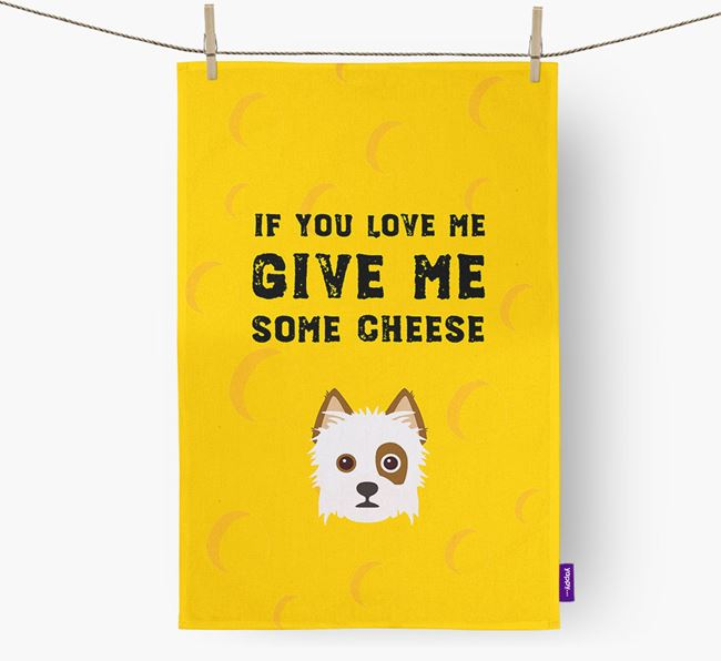 'Give Me Some Cheese' Dish Towel with Yorkie Russell Icon