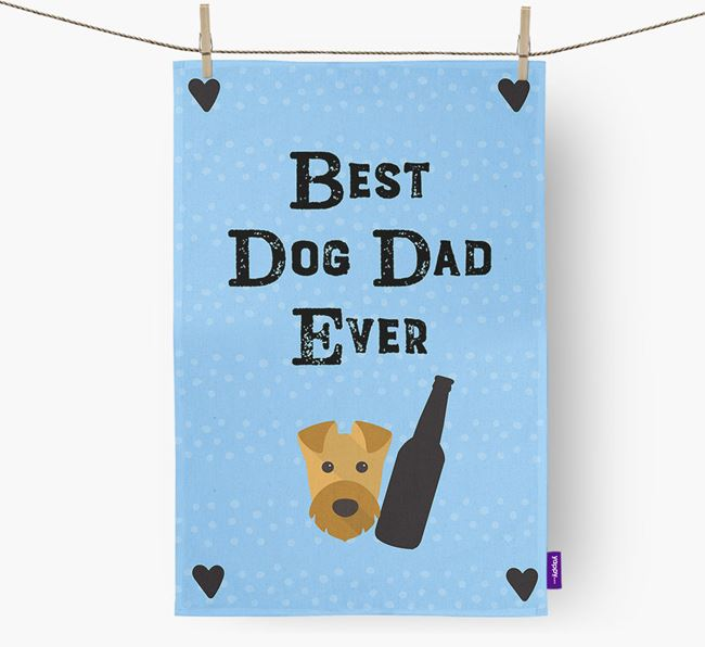 'Best Dog Dad' Tea Towel with Airedale Terrier Icon