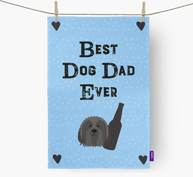 'Best Dog Dad' Dish Towel with Bearded Collie Icon