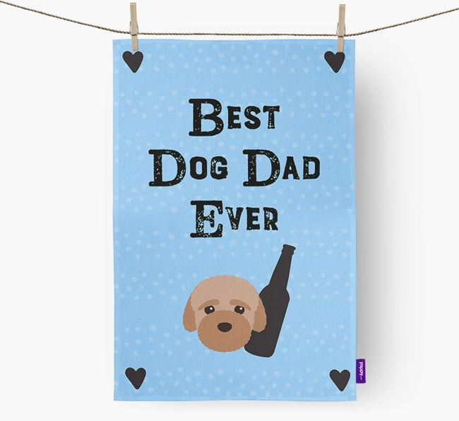 'Best Dog Dad' Dish Towel with Bich-poo Icon