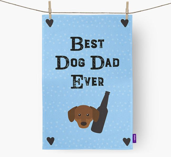 'Best Dog Dad' Tea Towel with Chiweenie Icon
